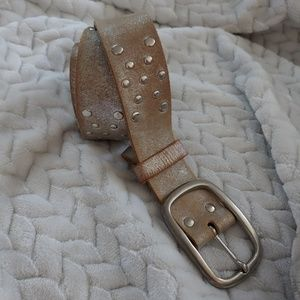 Accessories - Genuine leather silver metalic with brass belt